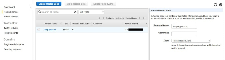 Create a Hosted Zone - Step 1